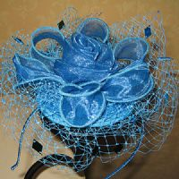 Small Turquoise Organza Fascinator (SN652)